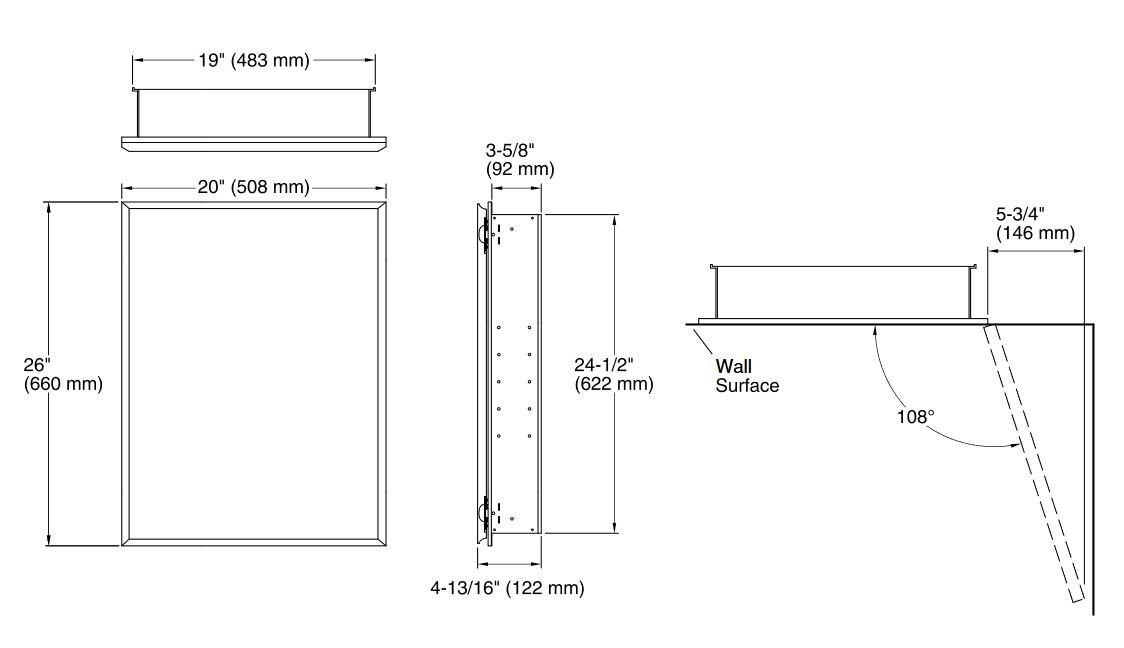 KOHLER K-CB-CLC2026FS 20-by-26-by-5-Inch Single Door Aluminum Cabinet