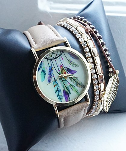 Dreamcatcher Nude Beige Gold Tone Watch with Matching Charm and Feather Bracelets