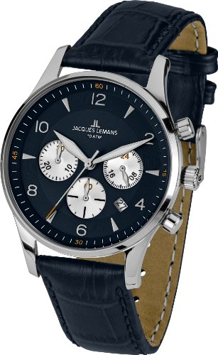 Jacques Lemans Herren-Armbanduhr XL London Chronograph Quarz Leder 1-1654C