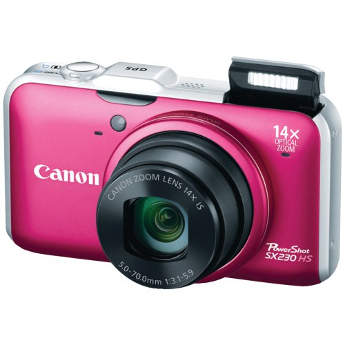 Black Friday Canon PowerShot SX230HS 12.1 MP Digital Camera with HS SYSTEM and DIGIC 4 Image Processor (red) Deals