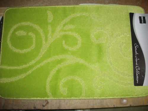 Lime Green Bath mat Set , Bathroom Mat and Pedestal Mat Rubber anti Slip Back