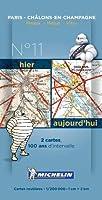 Pack 2 cartes hier/aujourd'hui Paris - Châlons-en-Champagne Michelin