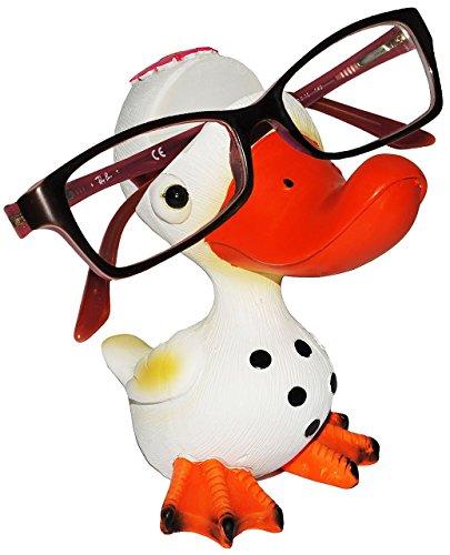 """Brillenhalter - """" lustiger Vogel - Ente / Gans """" - stabil aus Kunstharz - universal Größe - für Kinder & Erwachsene / Brillenhalterung - lustiger Brillenständer - für Sonnenbrille Lesebrille - Brillenablage - Tier lustig - Deko Figur - Vögel exotisch / Karibik - Urlaub - Enten"""