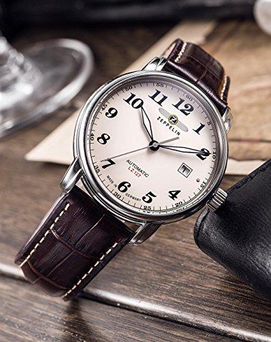Zeppelin Herren-Armbanduhr XL LZ127 Graf Analog Automatik Leder 76565 3