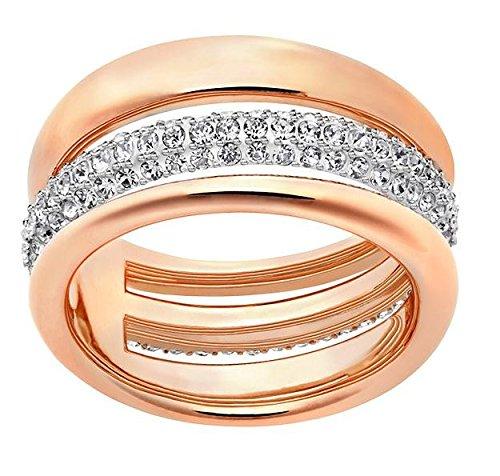 Swarovski donna-anello oro rosa cristallo bianco - Exact 52215, base metal, 50 (15.9), cod. 5221567