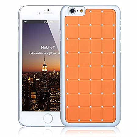 Big Name Quality G4GADGET® Apple Iphone 6 LUXURY CRYSTAL Cross Diamond Orange Case Bling Hard Cover with White Frame For Apple Iphone 6