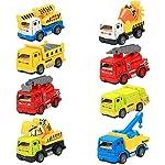 InnooBaby 8 Stück Baufahrzeuge Metall Pull Back Mini Kunststoff Spielzeugauto und und Lkw Modell Set Weihnachtsgeschenk für Kinder ab 3 jahren