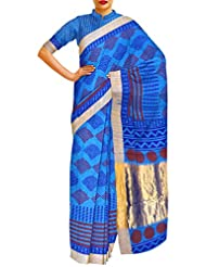 Unnati Silks Women Pure Handloom Pashmina Silk Printed Blue Saree