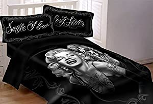 DGA Marilyn Monroe Day of the Dead Smile Now Cry Later 7 Piece Super Soft Luxury Queen Size Comforter Set W/ Bed Sheets