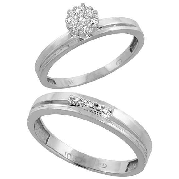 9ct White Gold 2-Piece Diamond Ring Set, 3mm Engagement Ring & 4mm Man's Wedding Band