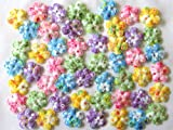 usausaのお店 造花 花の模様入り フラワーモチーフ・パーツ・アップリケ 50個セット(約30mm) ピンク ブルー グリーン イエロー パープル (B050)