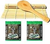 Sushi Roll tappetino in bambù + Cucchiaio da riso + 2x 10alghe Nori Foglie sushiset sushimatte sushialgen