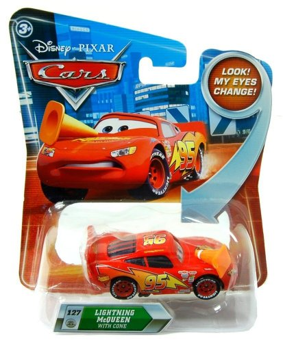 Disney / Pixar CARS Movie 127 Die Cast Car with Lenticular Eyes Series 2 Lightning McQueen with Cone