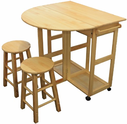 MARIBELLE FOLDING TABLE AND STOOL SET KITCHEN BREAKFAST BAR NATURAL