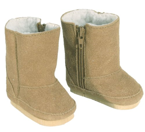 18 Inch Doll Boots fits American Girls Doll, Tan Suede Style with White Sherpa Lining and Zippers for easy Doll Dress Play, Tan Suede Boots Amazon.com