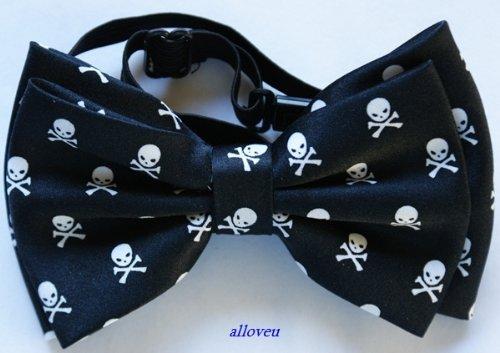 Brand New Awesome Silk Feel Small Skull Men'S Tuxedo Bow Tie