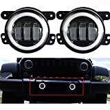 Lantsun 4 Inch 60W CREE LED Fog Lights Halo Ring Angel Eyes for Jeep Wrangler 97-16 JK TJ LJ ATV (1 Pair) LS023R