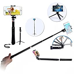 Selfie Stick With Remote, TabPow 13 in 1 Selfie Kit [Aluminum Alloy Rod] Extendable Wireless Selfie Stick Handheld Monopod [with Bluetooth Remote Shutter] For iPhone, Samsung Galaxy, Android Phones, GoPro, Digital Cameras [Includes Clamps, Tripod Stand, B