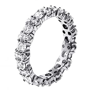 3.00 CT TW All Around Diamond Eternity Wedding Band in Platinum - Size 10