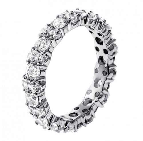 3.00 CT TW All Around Diamond Eternity Wedding Band in Platinum - Size 6