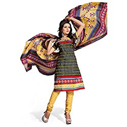 Rajnandini women's cotton Printed Unstitched salwar suit Dress Material with chiffon duppta (Yellow & Black _Free Size)
