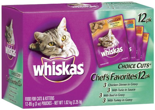 Whiskas Choice Cuts Chef's Favorites Variety Pack (Tuna, Turkey, Chicken, Beef) Food for Cats & Kittens, 12-Count Packages (Pack of 4)