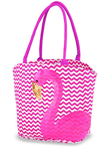 Mud Pie Sequin Flamingo Tote - 1