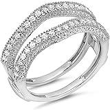 0.45 Carat (ctw) 14k Gold Round Diamond Ladies Wedding Band Millgrain Guard Double Ring 1/2 CT