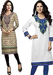 SDM Women's Kurti Printed Cotton Dress Material Unstitched Combo of 2 (126-130 ,Unstitched)