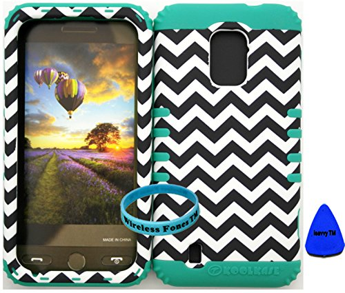 Wireless Fones Tm Zte Majesty Z796C Zte Source N9511 Tuff Impact Hybird Cover Case Chevron On Teal Silicone Skin (Wireless Fones Tm Wristband & Pry Tool Included) front-667410