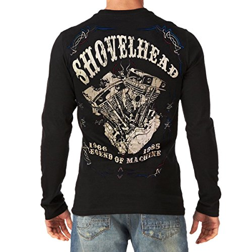 SHOVELHEAD Harley Davidson Engine Vintage MOTORCYCLE BIKER Mens Black T-Shirt Long Sleeve (X-Large)