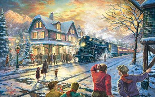 makeuseof 24X36 INCH / ART SILK POSTER / Painting Lionelville winter holiday Christmas tree Santa Claus evening lights house
