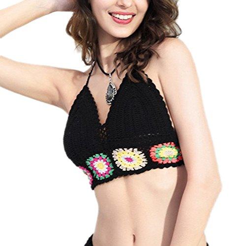 Women's Weaved Tassel Rash Guard Mesh Beachwear Vest Cover-up (Halter Bustier1)