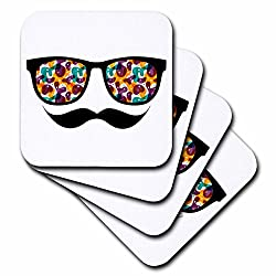 3dRose cst_116508_2 Hipster Trendy Retro Color Blobs Shades Sunglasses & Mustache Soft Coaster (Set of 8)