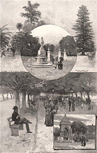 Sydney Parks. Botanical Gardens. Hyde Park. New South Wales. Australia, 1888