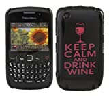 ITALKonline IMPERIAL BLACK CASE with PURPLE Text KEEP CALM and DRINK WINE Pattern Super Slim Hydro Hard Protective Armour/Case/Skin/Cover/Shell For BlackBerry 8520 Curve, 9300 3G