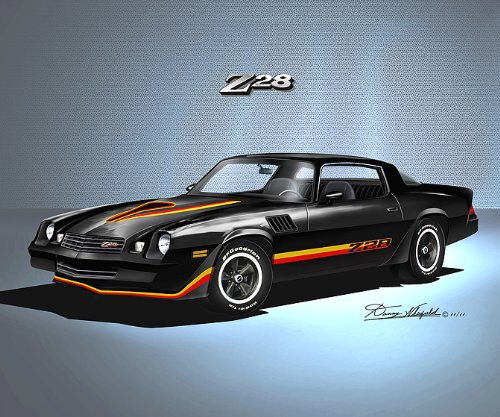 1978-1979 CAMARO Z28 -TOP OF THE LINE TUXEDO BLACK - ART PRINT POSTER BY ARTIST DANNY WHITFIELD- size 20 X 24 (1978 Camaro Posters compare prices)