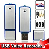#1 Bestseller 2015 USB Digital Voice Recorder Device Plus 8 Gb Flash Drive - Best Small Sound Recorder - Spy Voice Recorder -Use As Dictaphone - Windows and Mac Compatible Device - Spy Gadget - Blue Silver Color with On/off Switch Button, By Blitzbusters�