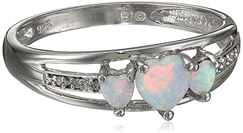 Sterling Silver, Created Opal, And Diamond Three-Heart Ring, Size 8 front-574220