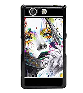 Thinking Girl Graffiti 2D Hard Polycarbonate Designer Back Case Cover for Sony Xperia Z4 Compact :: Sony Xperia Z4 Mini