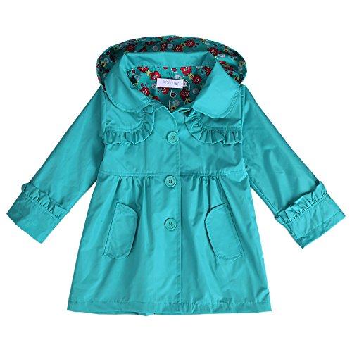Arshiner Girl Kid Flower Waterproof Hooded Coat Jacket Outwear Raincoat Hoodies Blue,110(Age for 3-4Y) (Rain Jacket Toddler compare prices)
