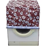 Lithara Floral Brown Colored Waterproof And Dustproof Washing Machine Cover For Fully Automatic Front Loading 7kg Washing Machine