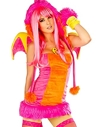 J. Valentine Women's Pink Drag Costume Zipper-Back with Attached Tail