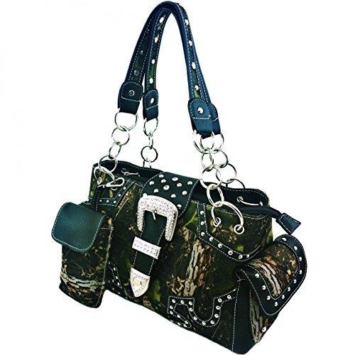 2015 Rhinestone Buckle Concealed Carry Camouflage Leather Shoulder Handbag in Black