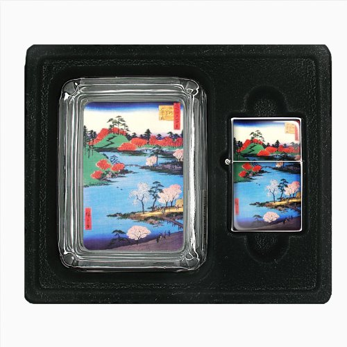 Japanese Woodblock Along River Jumbo Size Huge Big Giant 6.5 Inch Electronic Lighter D-061