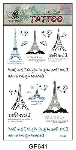 SYZ Beauty Waterproof Temporary Tattoos Varieties of Eiffel Tower Tattoos