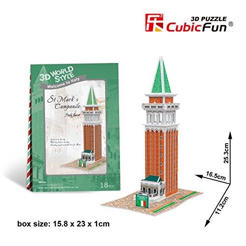 Cubicfun Cubic Fun 3d Puzzle Model 18pcs Italy Flavor St Mark's Campanile - 1