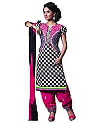 Rudra Textile Women's Black Cotton Punjabi Suit