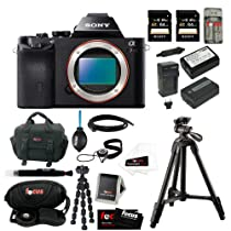 Sony ILCE7R/B ILCE7RB 36.3 MP a7R Full-Frame Interchangeable Digital Lens Camera Bundle + 2 Sony 64GB SDHC Class 10 Memory Cards + Sony VCT-R100 Tripod + Wasabi Replacement NP-FW50 Two Batteries with Charger + Accessory Kit