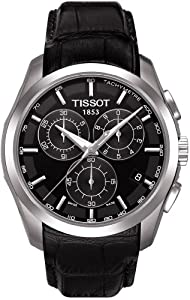 Tissot Men's Couturier T035.617.16.051.00 Black Leather Quartz Watch with Black Dial